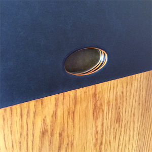Inset finger pull in Richlite cabinet front