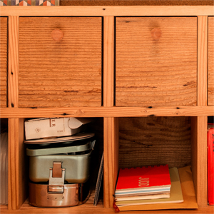 Reclaimed Douglas Fir drawers with custom turned fir knobs