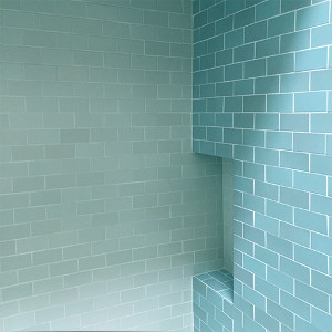 Tiled cubby in bathroom