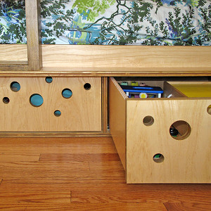 Ash-veneered plywood drawers