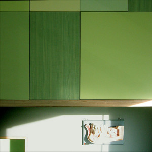 Mixed plastic laminate on plywood cabinets