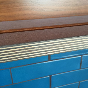 Detail of stained plywood edge and Walnut veneer